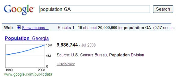 Search Population on Google