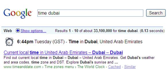 Search Local Time on Google
